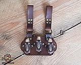 Pequeño porta pociones Marrón oscuro para 3 botes. Fabricado en cuero natural para rol en vivo, Cosplay, disfraz o para guardar tus especias.