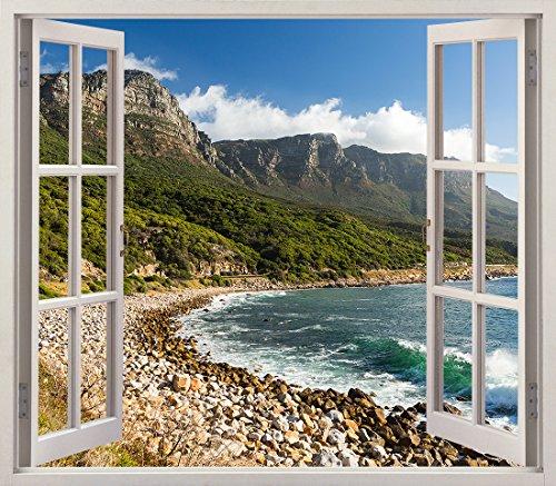 Pegatinas 3D Vinilo ventana Varias Medidas 150x130cm | Adhesivo Incluido | Decoracion Habitación |Playa, Rocosa Panoramica y Montañas Frondosas | Multicolor | Diseño Elegante |