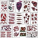 LISOPO 30 Stück Halloween Tattoos Wunde Aufkleber Zombie Narben Wunden Wasserfest
