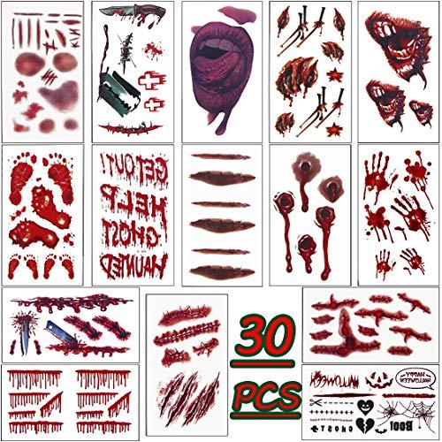 LISOPO Cicatrices Tatuajes Pegatinas Hollaween Tatuajes Temporales con Falso Scab Sangre Especial para Fiesta y Cosplay 30 Pcs