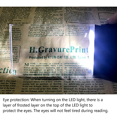 LED 2X großes rechteckiges Leselupe Handlupe mit Licht - 2,3 x 4 randlose Verzerrung-Free-Objektiv für Low Vision, Senioren, Bücher, Seiten, Zeitschriften, Zeitungen und Karten (Groß rechteckig) - 3