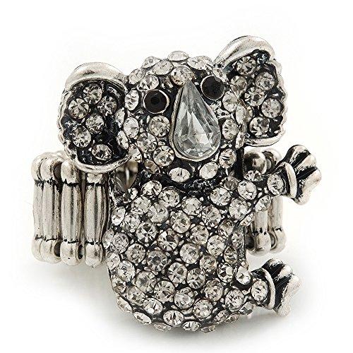 Estiramiento anillo cóctel Swarovski incrustados
