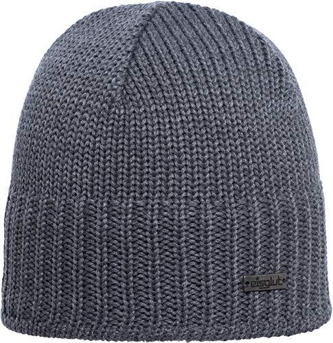 Eisglut Herren Aiko Merino Mütze, Grau Melange, M - Merino Knit Hat