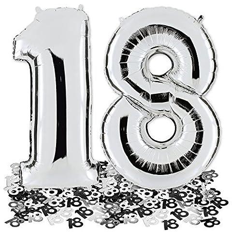 Ballon Zahl 18 in Silber + Metallic Konfetti 28g - XXL Riesenzahl 100cm - zum 18. Geburtstag - Party Geschenk Dekoration Folienballon Luftballon Happy Birthday