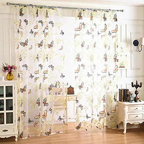 Xshuai 200cm x 100cm Stilvoll Schmetterling Sheer Vorhang Tulle Fenster Behandlung Voile Drape Valance 1 Stoff (Mehrfarbig)