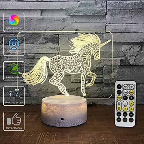 EFGS 3D Illusion Lampe, LED Optische Täuschung Multi-Color-Nachtlicht, Fernbedienung USB Lade Kleine Tischlampe, Halloween Weihnachten (Einhorn)