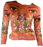 Ticila Damen Langarm T-Shirt Orange Hindu Deities Gods Lord BRAHME VISHNU SHIVA Psychodelic Goa Trance Dj Beach Party Kunst Art Religion Star Designer Vintage Tattoo Design M 38/40