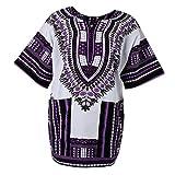 Sharplace Damen Kurzarm Sommer Traditionelle Afrikanische Kleider Afrika Style Minikleid Dashiki Cocktailkleid - Lila, wie beschrieben