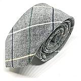 Good.Designs Herrenkrawatte Slim fit, handgenäht aus Baumwolle schmale 6cm Baumwollkrawatte für Männer (Grau - Bunt Kariert)