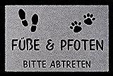 FUSSMATTE Türmatte FÜSSE & PFOTEN BITTE ABTRETEN Haustier Hund Katze Eingang Hellgrau
