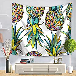 HmDco Las plantas tropicales pintaron la tapicería de la piña Toalla de playa del tapiz,multicolor,150*130cm