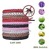 10 Stück Mückenschutz Armband,Natürlich Leder Mückenschutz Armband,Premium Naturals Anti-Mücken Repellent Inscet Gürtel 240 Stunden Schutz Für Kinder Und Erwachsene(5 Farben Einfarbiges Weben)