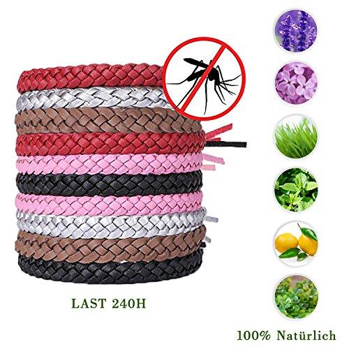10 Stück Mückenschutz Armband,Natürlich Leder Mückenschutz Armband,Premium Naturals Anti-Mücken Repellent Inscet Gürtel für Outdoor und Innenschutz,240 Stunden Schutz Für Kinder Und Erwachsene(5 Farben Einfarbiges Weben)
