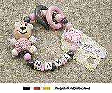Baby Greifling Beißring geschlossen mit Namen | individuelles Holz Lernspielzeug als Geschenk zur Geburt & Taufe | Mädchen Motiv Bär und Herz in rosa