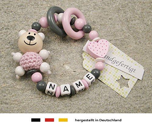Baby Greifling Beißring geschlossen mit Namen - individuelles Holz Lernspielzeug als Geschenk zur Geburt Taufe - Mädchen…