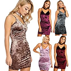 Transer® Ladies Deep V Sexy Backless Bodycon Pullover Shiny Dress, Women Velvet Party Club Mini Dress Tops
