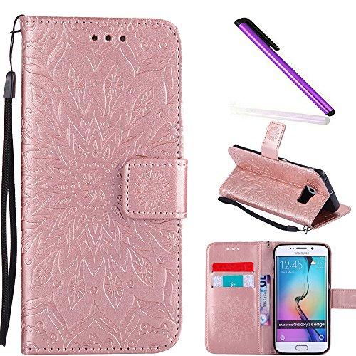 aa8cd95afc0 COTDINFOR Galaxy S6 Edge Funda Flores Cierre Magnético Billetera con Tapa  para Tarjetas de Cárcasa Elegante