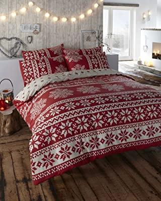 100% Brushed Cotton Red & Cream King Size Duvet Cover Bed Set