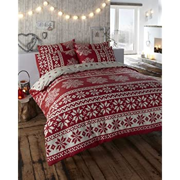Double Red Snowflake Duvet Cover Set A bold fairisle Flannelette ...