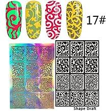 GoodPing Nuevos Diseños Plantillas de Vinilos Para Clavos Etiqueta Engomada de la Plantilla del Clavo Manicure Pegatinas (17#)