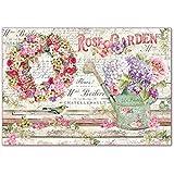 Reispapier 48x33cm - Rose garden. Motiv-Strohseide