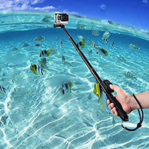 COOSA Regolabile selfie Stick per GoPro HERO 4/3 + / 3 telecamere con accessori Kit 36-110cm impermeabile (4 nero + Kit di accessori, 601)