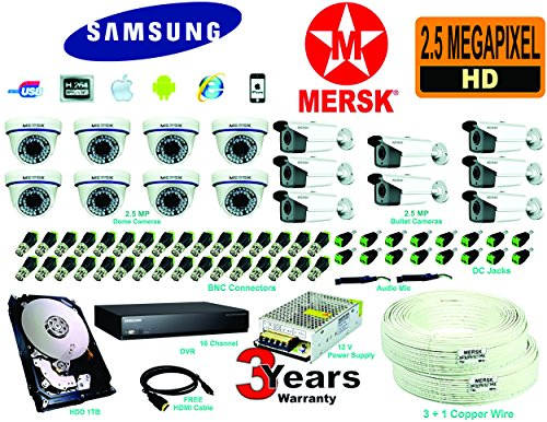 SAMSUNG 16 CH AHD DVR + 8MERSK HD 2.5 MEGA PIXEL DOME CAMERA + 8MERSK HD 2.5 MEGA PIXEL BULLET CAMERA + 1 TB HARD DISK + POWER SUPPLY + 3+1 COPPER WIRE (90 Mtrs) + FREE HDMI + AUDIO MICROPHONE _ ALL REQUIRED CONNECTORS  available at amazon for Rs.45000