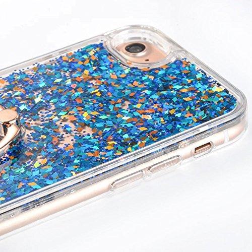 Flüssigkeit Handyhülle Für iPhone 6 Plus/6S Plus 5.5 Zoll,Herzzer Luxus Luxuriös Fließt Treibsand Durchsichtige Kristall Glänzend Glitzer Diamant Fließen Flüssig Flüssigkeit Plastik Handyhülle Tasche  Blau