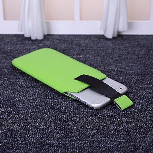 ekinhui Fall Cover NEU Farbe Premium Stylish Kunstleder Pull Tab Pouch Skin Schutzhülle für iPhone SE 5S 66S Green