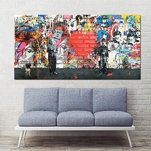 SCLPOSTER Leinwandbild Liebe ist die Antwort Wandbilder Graffiti Holding a Sign Bunte Leinwandbilder für Wohnzimmer 50x70cm -