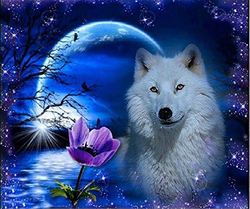 YEESAM ART New 5D Diamond Painting Kit - Wolf Night Animal 40*30 - DIY Crystals Diamond Rhinestone Painting Pasted Paint by Number Kits Cross Stitch Embroidery