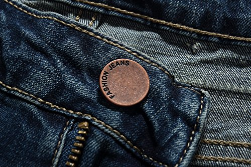 SSLR Herren Modern Distressed Slim Fit Straight Jean Blau