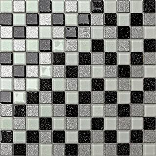 Save Money 1m² Black Silver White Glass With Multicolour Glitter Mosaic Wall Tiles Sheets (MT0029)