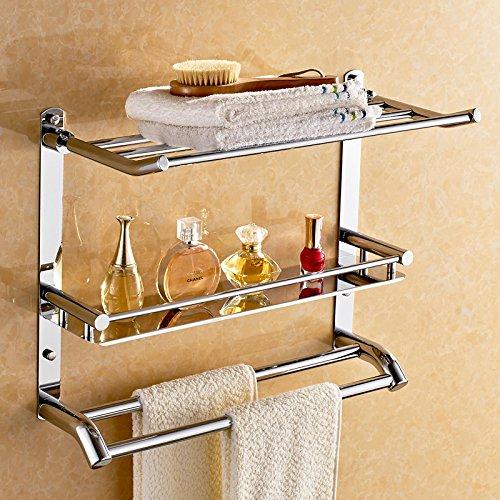 Piegare in acciaio inox bagno Tripla asciugamano rack bagno accessori hardware per bagno asciugamano rack (Piegare I Vestiti Rack)