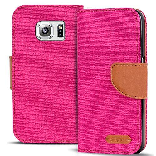 Conie Textil Hülle kompatibel mit Samsung Galaxy S6 Edge, Booklet Cover Pinke Handytasche Klapphülle Etui mit Kartenfächer