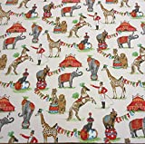 Stoff Meterware Baumwolle Zirkus Elefant Nostalgie Giraffe Dompteur