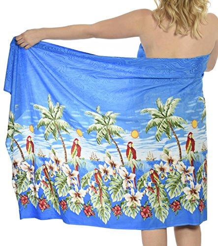 La Leela likre Palme Badeanzug Sarong Ansicht Strand wickeln 78x39 Zoll Blau