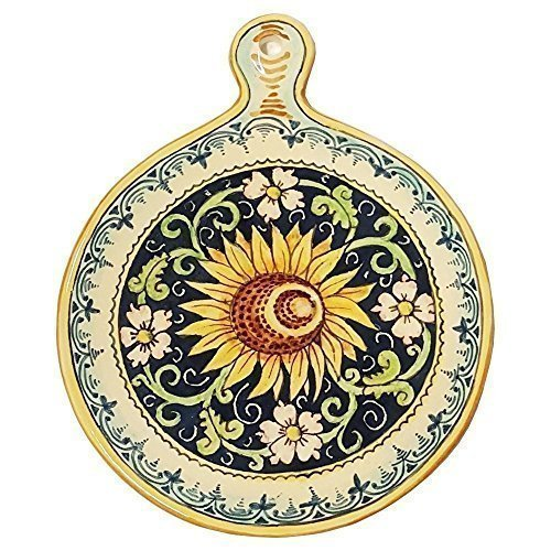 CERAMICHE D'ARTE PARRINI- Ceramica italiana artistica , sottopentola decorazione girasole