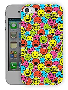 "Humor Gang Smileys Mixed Up Printed Designer Mobile Back Cover For ""Apple Iphone 4-4S"" (3D, Matte Finish, Premium Quality, Protective Snap On Slim Hard Phone Case, Multi Color)…"