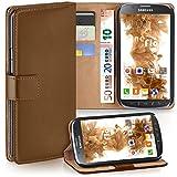 moex Samsung Galaxy S4 Active | Hülle Braun mit Karten-Fach 360° Book Klapp-Hülle Handytasche Kunst-Leder Handyhülle für Samsung Galaxy S4 Active Case Flip Cover Schutzhülle Tasche