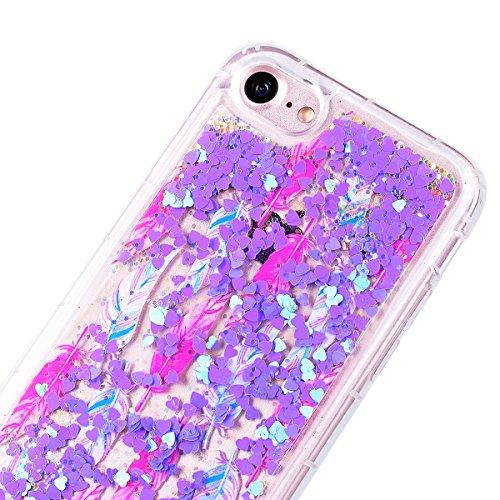"""Coque iPhone 7 (4.7"""")GrandEver Vert Liquide Sable Bling Glitter Antichoc Soft Kawaii en Silicone Gel été étui Femme Case avec Bumper pour iPhone 7 (4.7"""") -- Herbe Motif 8"""