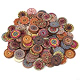 #8: GOTOTOP 100Pcs Mixed Pattern Vintage Wood Buttons with 2 Holes for DIY Sewing Craft Decorative 25mm