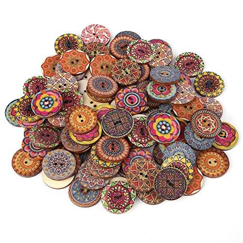 FTVOGUE 100 Stücke 1 Zoll Mischmuster Vintage Holzknöpfe mit 2 Löchern DIY Nähen Handwerk Dekorative für Kleidung Hüte Schuhe Kintwear