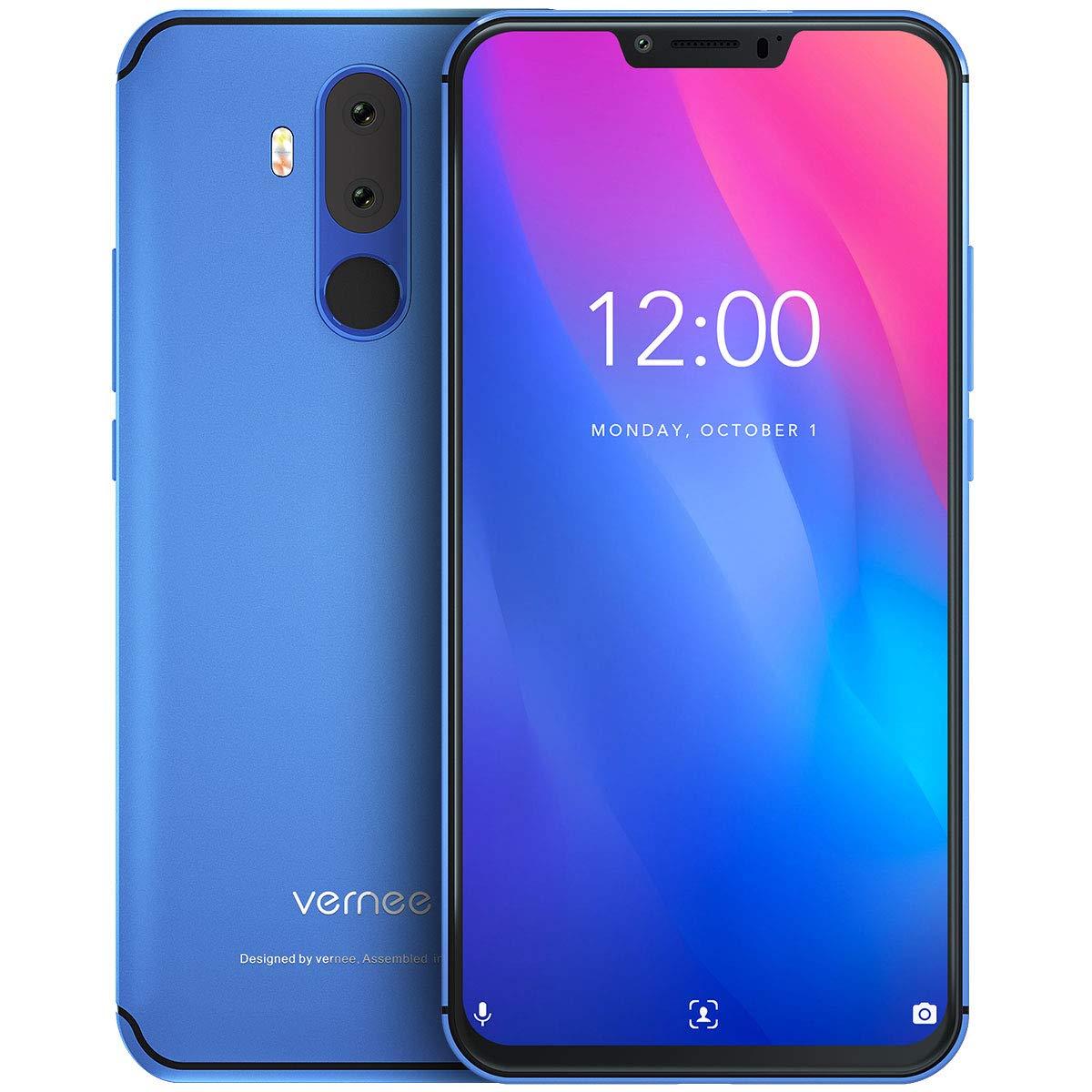 Vernee M8 Pro Teléfono Móvil Libre 6GB RAM 64GB ROM, Pantalla FHD 6.2″ Cámara Dual AI 16MP+8MP, Batería 4100mAh Carga QI Inalámbrica Dual SIM 4G Volte, Android 8.1 Face ID Octa-Core 2GHz, NFC – Azul