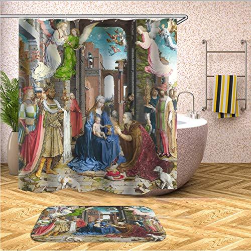 hysxm Malende 3D-Duschvorhänge Für Badezimmer-Dusche-Wasserdichte Gewebe-Badezimmer-Bildschirme Besonders Angefertigt-180(H)*180(W) cm