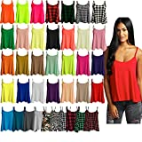 Ladies Camisole Cami Plain Strappy Swing Vest Top Flared Sleeveless