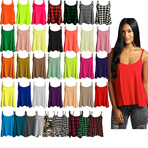 Re Tech UK Ladies New Camisole Cami Plain Strappy Swing Vest Top Flared Sleeveless