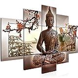 Bilder Buddha Feng Shui Wandbild 150 x 100 cm Vlies - Leinwand Bild XXL Format Wandbilder Wohnzimmer Wohnung Deko Kunstdrucke Braun 5 Teilig -100% MADE IN GERMANY - Fertig zum Aufhängen 503253c