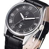 DMwatch Uomo Watch Nero Cinturino in Pelle Cinturino del Nero Quadrante Con Data Argento Lunetta 3ATM Resistenza all'acqua Display Analogico Quarzo Watch