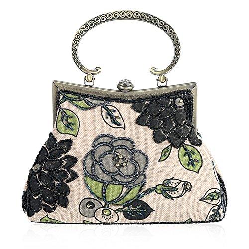 YAN Damen Abend Handtaschen Leinen Paket Vintage Pearl Stickerei Handtasche Hochzeit Prom Handtasche Mode Tasche (Style : 3) (Abend-handtasche Pearl)